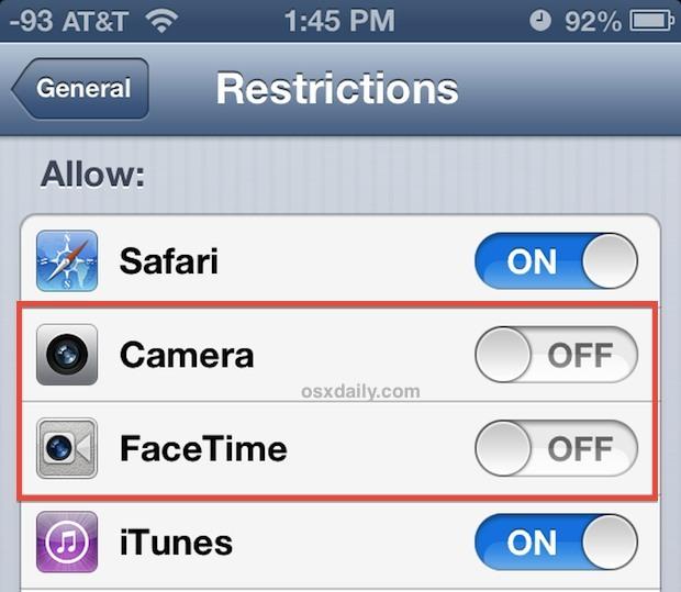 Disattiva l'accesso alla videocamera dell'iPhone