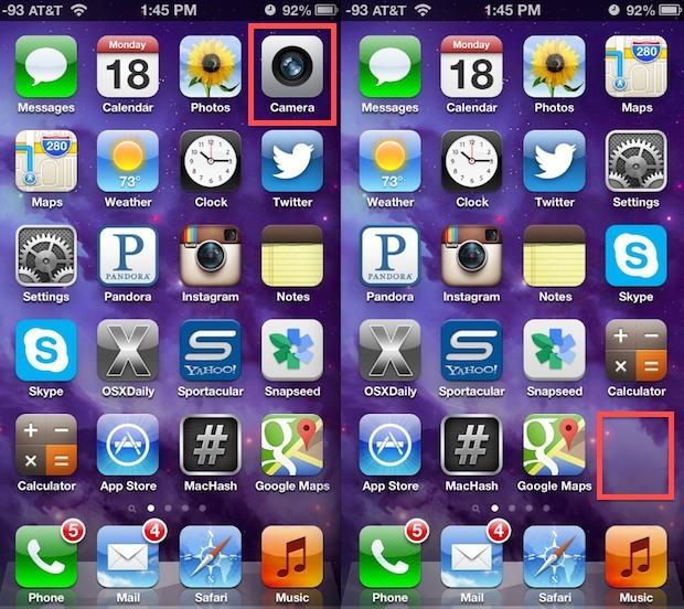 Fotocamera disabilitata e rimossa dalla schermata iniziale di iPhone