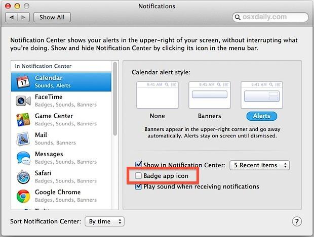 Disattiva le icone delle app badge in Mac OS X