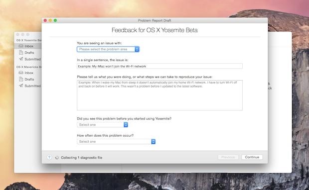 Invia feedback Apple su OS X Yosemite