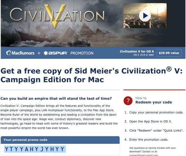 Ottieni il codice di download gratuito per Civilization V