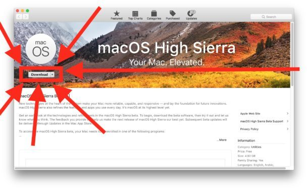 Scarica macOS High Sierra Public Beta