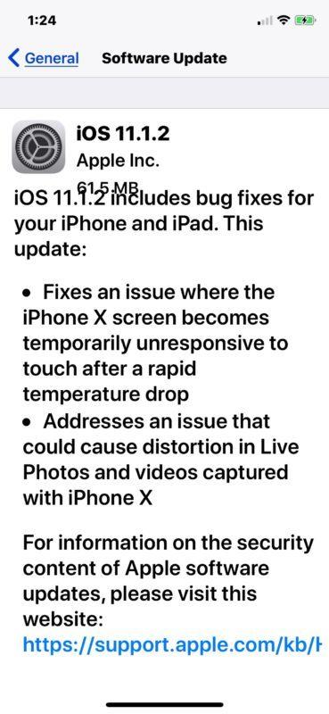 Aggiornamento del software iOS 11.1.2