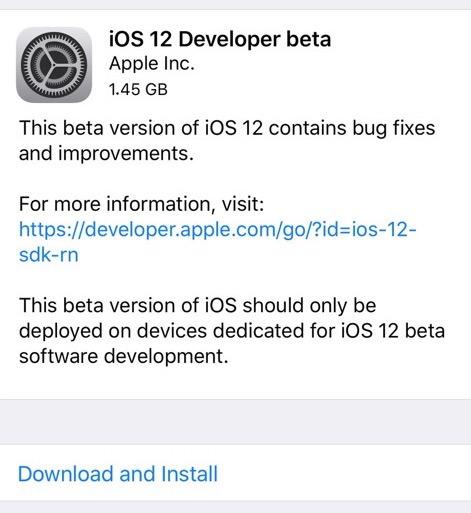 Download di iOS 12 beta 1