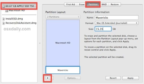 Crea una partizione di avvio doppio per OS X Mavericks