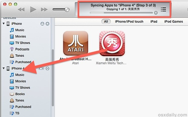 Copia l'app esterna su iPhone