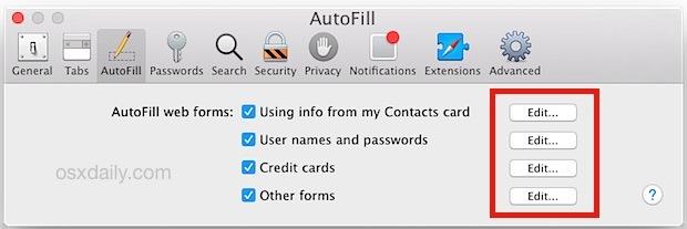 Modifica le informazioni di riempimento automatico in Safari per OS X