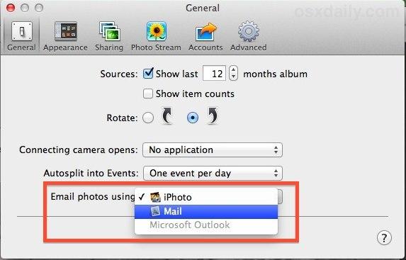 Invia foto da iPhoto con l'app Mail