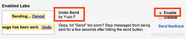 Abilita un'opzione Annulla invio in Gmail
