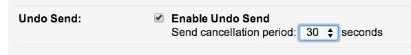 Regola Annullare Invia periodo di richiamo email nelle opzioni di Gmail