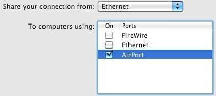 Condivisione Internet su Mac