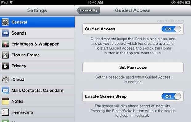 Abilita l'accesso guidato in iOS