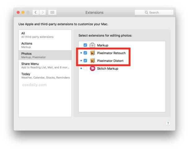 Abilita le estensioni Pixelmator in Photos per Mac