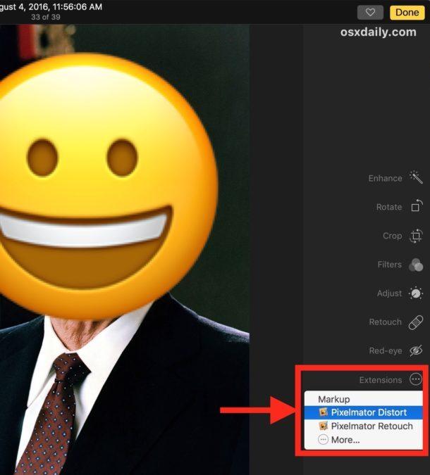 Le due estensioni di Pixelmator in Photos for Mac
