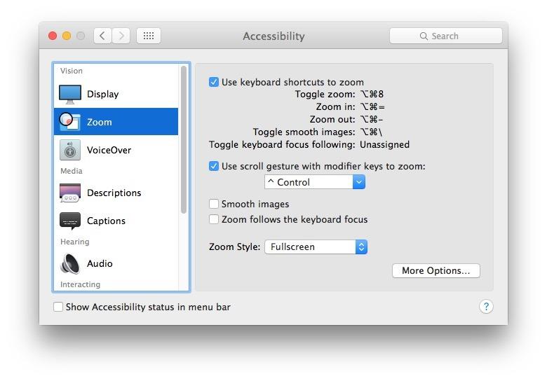 Zoom schermo in Mac OS X