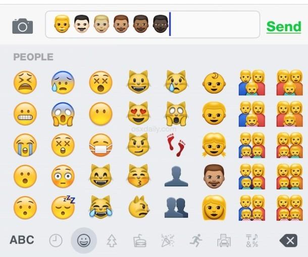 Digitando le variazioni del tono della pelle Emoji