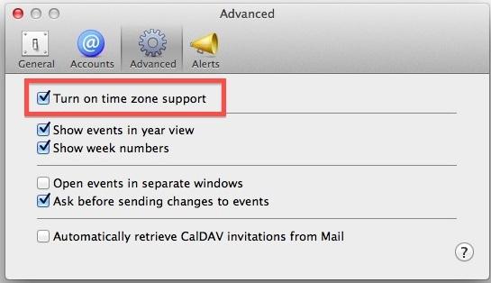 Abilita i fusi orari nel calendario per Mac OS X.