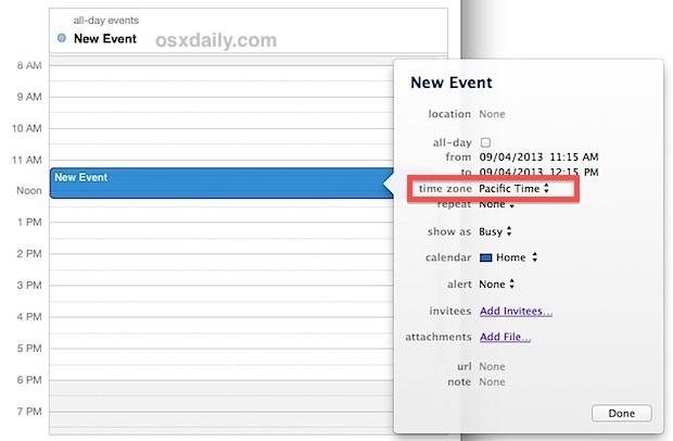 Imposta il fuso orario per un evento in Calendar per OS X