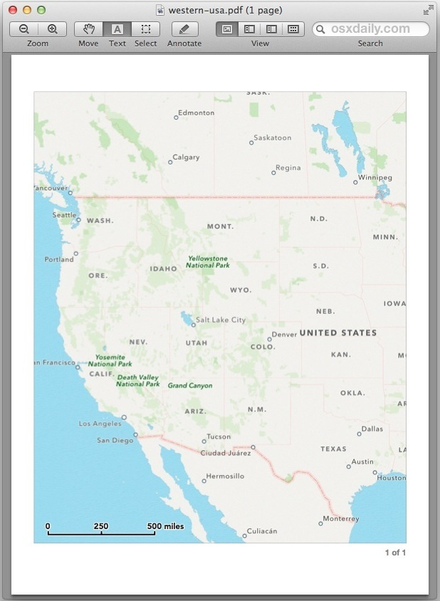 Mappa regionale salvata da OS X Maps