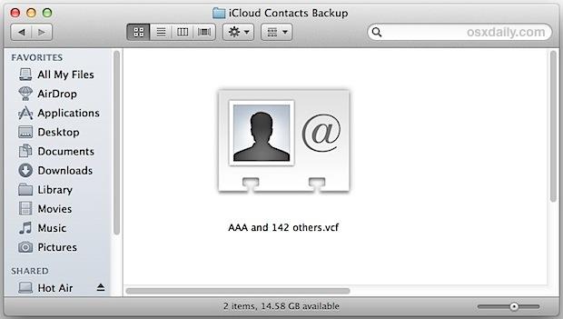 Il file di contatti iPhone esportato in formato VCF