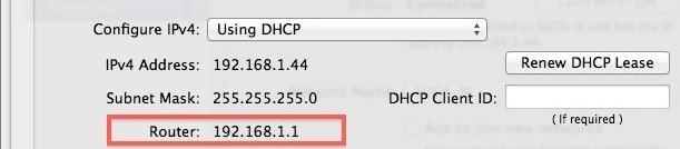 Trovare l'indirizzo IP di un router in Mac OS X.