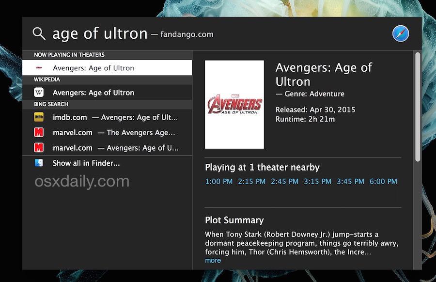 Trova film da giocare nelle vicinanze con Spotlight in Mac OS X