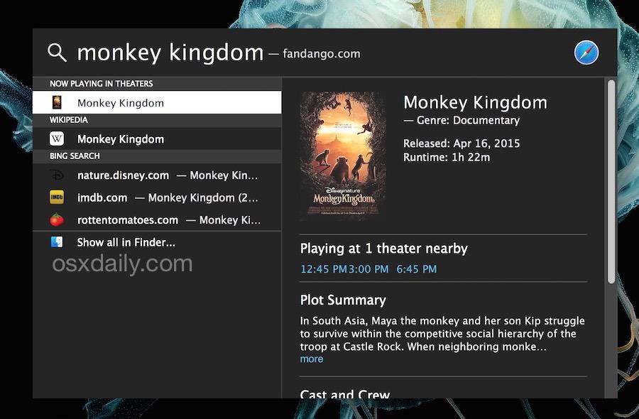 Trova gli orari dei film con Spotlight in Mac OS X