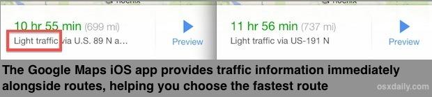 Informazioni sul traffico di Google Maps mostrate nel percorso