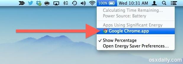 Scopri quale app utilizza la batteria in Mac OS X