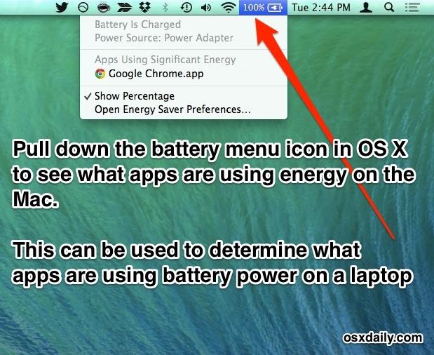 Scopri quali app utilizzano la batteria / l'energia in Mac OS X