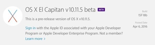 OS X 10.11.5 beta 1