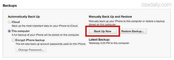 Avvio di un backup del dispositivo iOS su iTunes