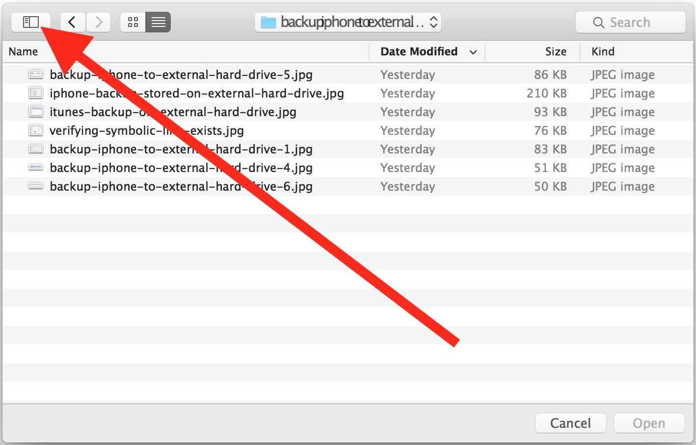 Mostra la barra laterale in Apri e salva Windows di Mac OS X
