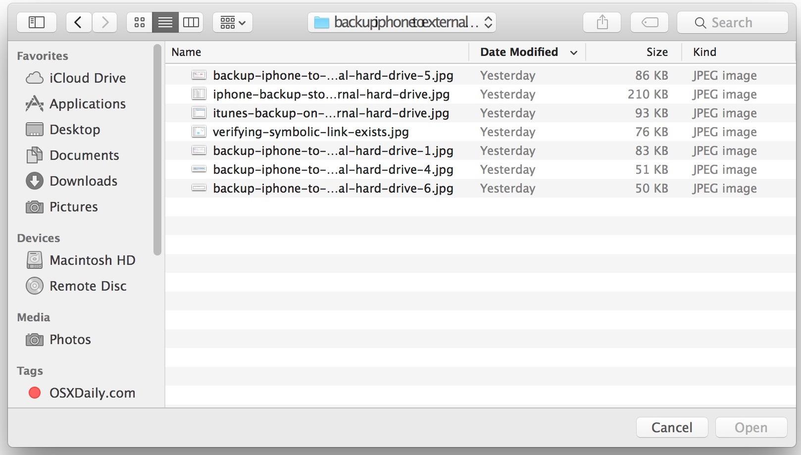 Barra laterale visibile nella finestra Apri e Salva di Mac OS X