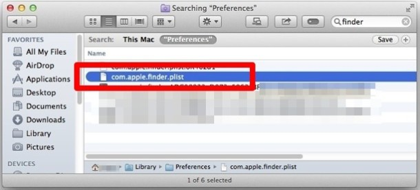Elimina il file plist del Finder