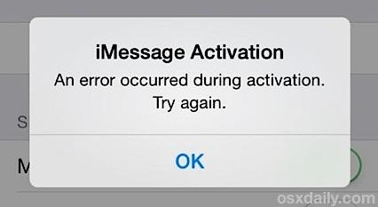 Risolvere un errore di attivazione di iMessage