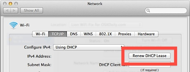 Rinnovare un lease DHCP in Mac OS X