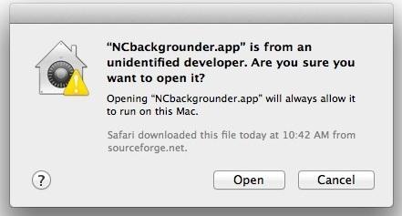 Spostare temporaneamente il messaggio App Be Be Opened in Mac OS X