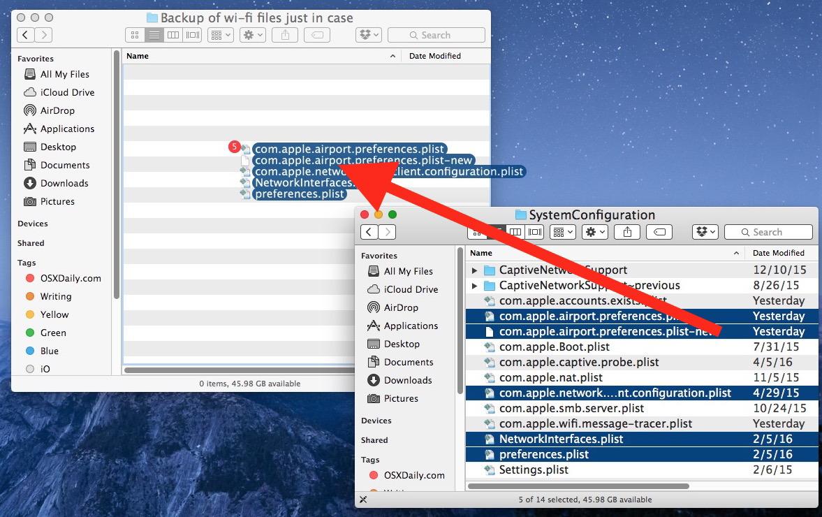 Copia i file wifi in una posizione di backup