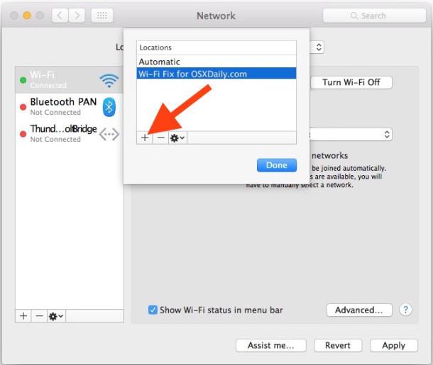 Crea una nuova posizione di rete in OS X