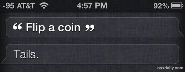 Lancia una moneta con Siri per decisioni difficili