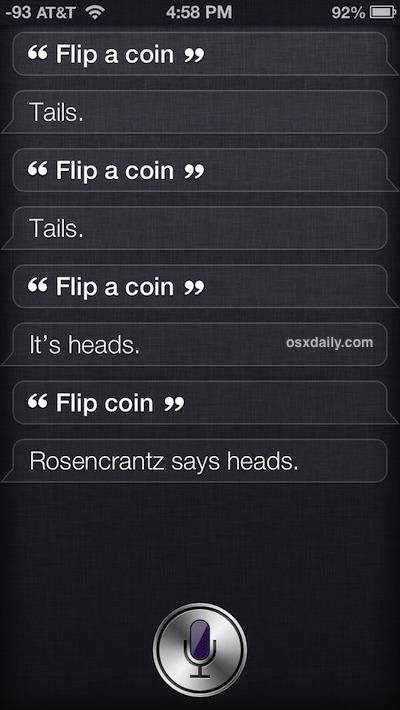 Lancia una moneta con Siri e i risultati casuali