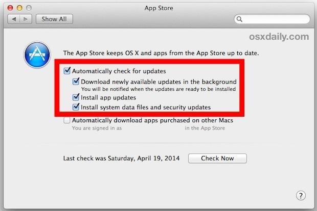Utilizza Aggiornamenti automatici in Mac OS X