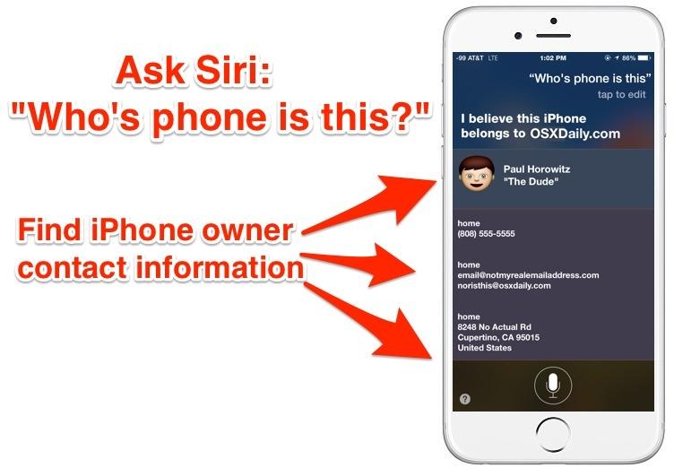 Trova le informazioni di contatto del proprietario dell'iPhone con Siri