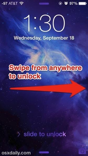 Scorri da qualsiasi posizione per sbloccare iOS 7