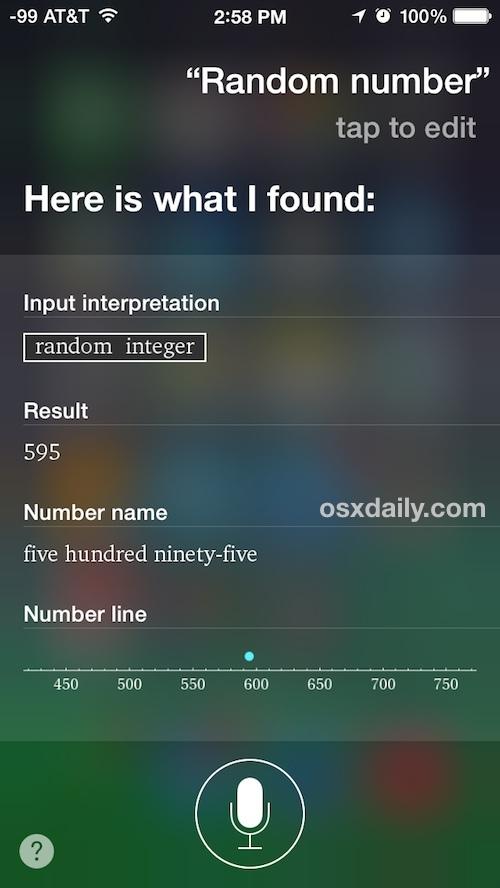 Genera un numero casuale con Siri