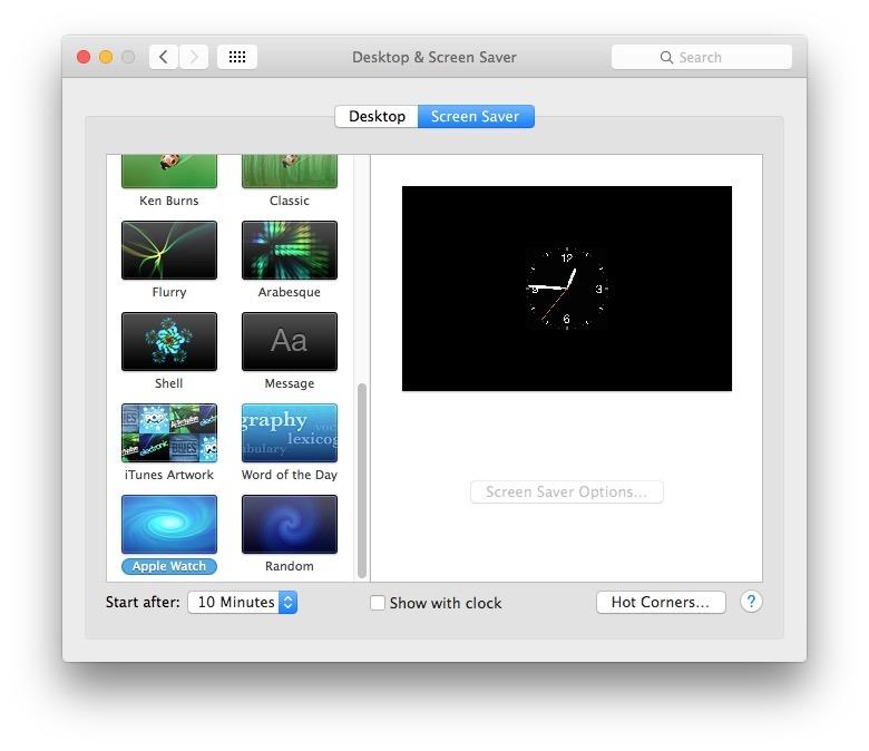 Utilizzo dello screen saver Apple Watch in OS X