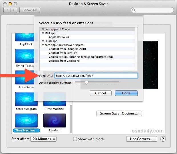 Personalizzazione del feed RSS per lo screen saver a vortice