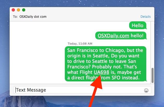 Ottenere informazioni sul volo dall'app Messaggi in Mac
