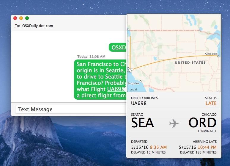 Visualizzazione dei dettagli del volo in Messaggi per Mac